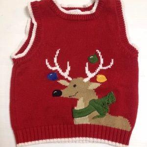 Green dog red reindeer Christmas sweater vest